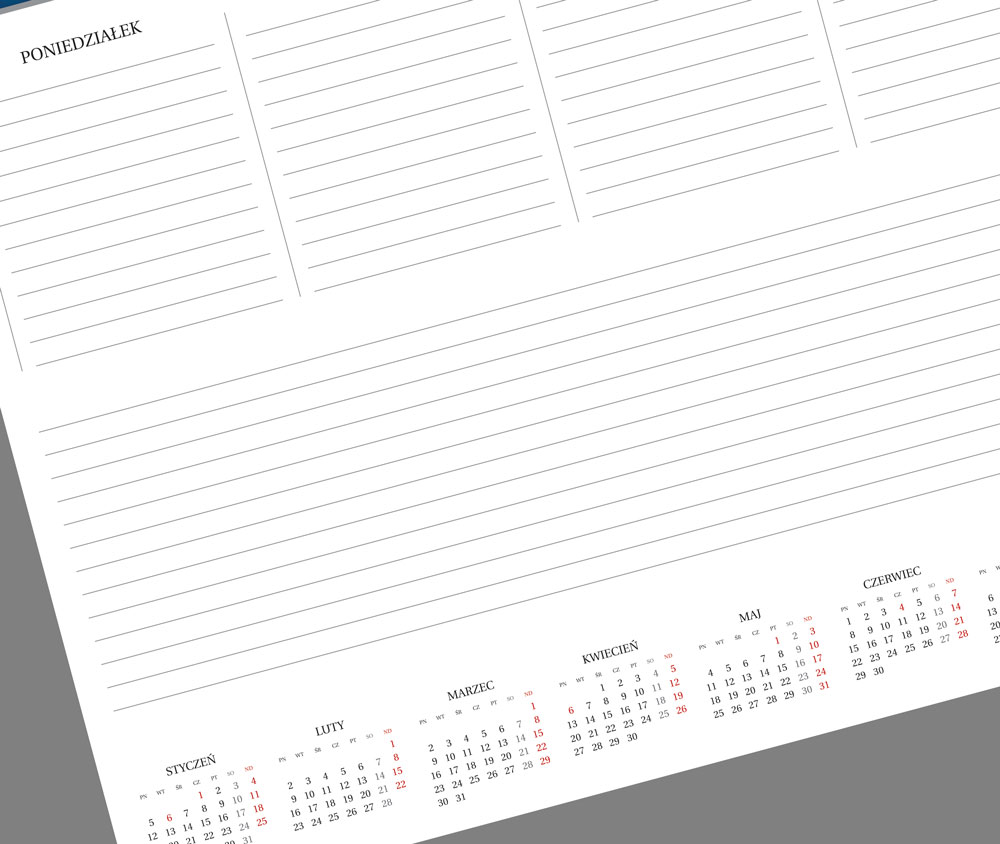 Podkład biurkowy, biuwar, podkład na biurko z kalendarzem