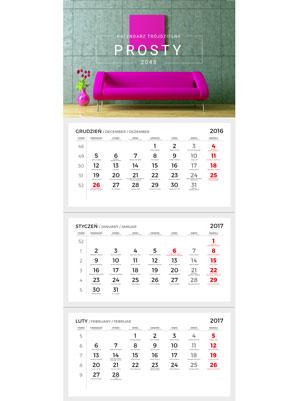 kalendarz trójdzielny tv-1-m