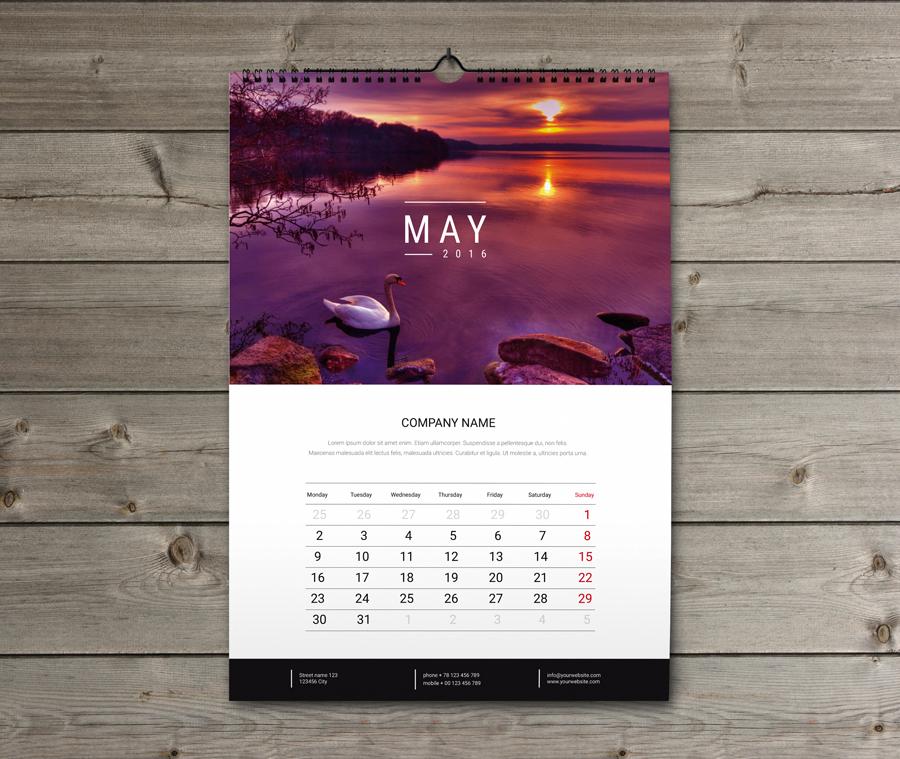 Wall Calendar Typography : Firmowy reklamowy kalendarz wieloplanszowy kw w