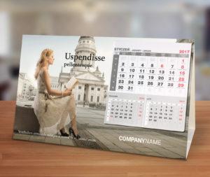 kalndarze biurkowe reklamowe poziome z przyklejanym kalendarium