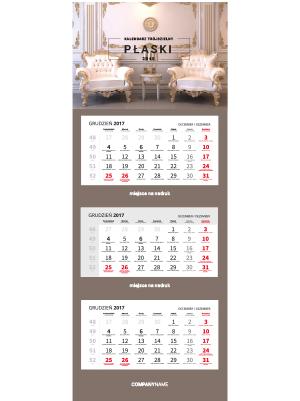 kalendarz trójdzielny płaski